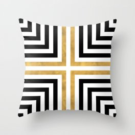 Simple Geometric Cross Pattern - White Gold on Black - Mix & Match with Simplicity of life Throw Pillow