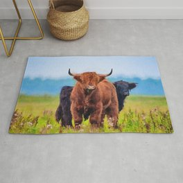 Highland cow watercolor painting #10 Rug