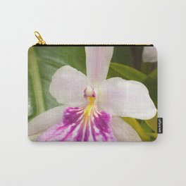 White and Purple Exotic Orchid Carry-All Pouch