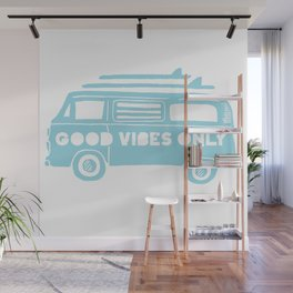 Good Vibes Only retro surfing Camper Van Wall Mural