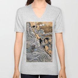 Kuniyoshi Utagawa, The ghost of Taira Tomomori, Daimotsu bay Unisex V-Neck