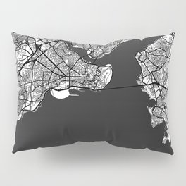 Istanbul Map Gray Pillow Sham