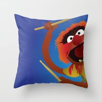 muppets Throw Pillows featuring Animal - Muppets Collection by Bryan Vogel