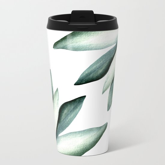 Tropical white pattern Metal Travel Mug