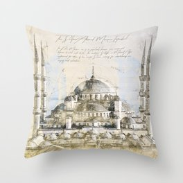 Blue Mosque, Istanbul Turkey Throw Pillow