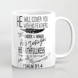 Psalm 91:4 Christian Bible Verse Typography Design Coffee Mug