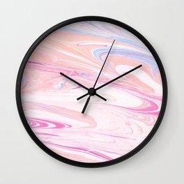 Pink Gold Marble Swirl Watercolor Brushstroke Wall Clock