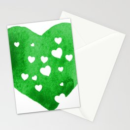 Green Hearts Stationery Cards
