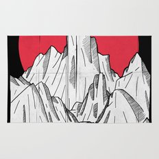 The red sun and the mountains Rug