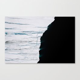 Black and White - Abstract minimal Iceberg aerial view in Greenland - Landscape Photography Canvas Print