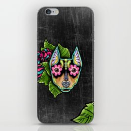 Min Pin Day of the Dead Miniature Doberman Pinscher Sugar Skull Dog iPhone Skin