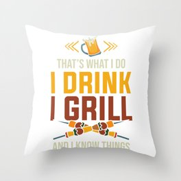 Beer Lover Smoke Meat BBQ Griller Drink Grill Gift Throw Pillow