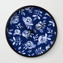 Hand painted navy blue white watercolor floral roses pattern Wall Clock