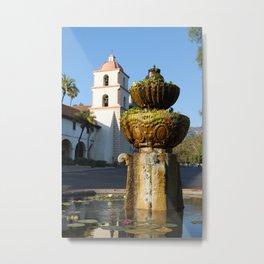 Santa Barbara Mission Fountain Metal Print
