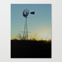 Sunset Glow On Windmill Canvas Print