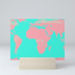 Undistorted World Map Pink Aqua Mini Art Print
