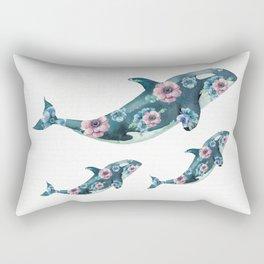 Rose Garden Whales Rectangular Pillow