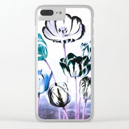 Blue Teal Tulips : Temple of Flora Clear iPhone Case