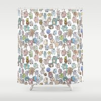 bears Shower Curtains featuring Bears by Hannah Drossman