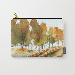 Autumn Trees and Pumpkin Patch Watercolor Carry-All Pouch