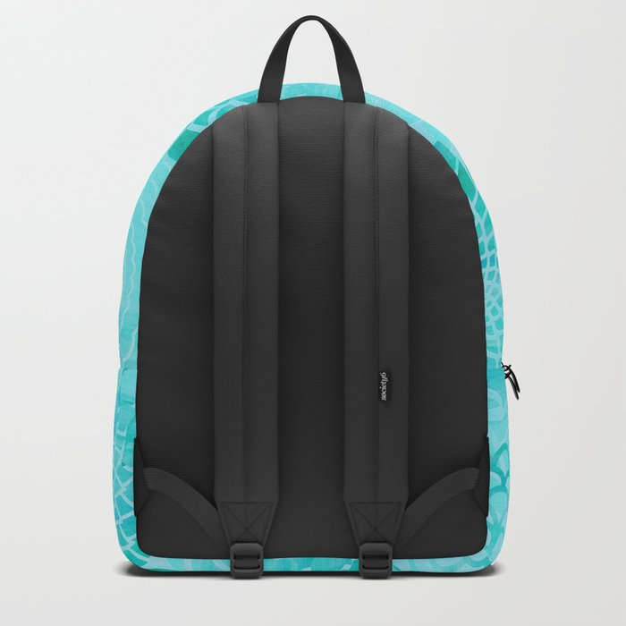 Aqua Blue Floral Flower pattern- Turquoise Abstract Flowers on #Society6 Backpack