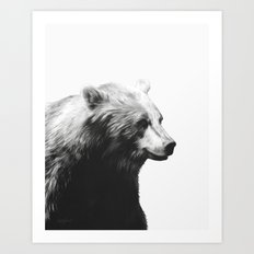 Bear // Calm (Black + White) Art Print