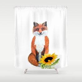 Fox and sunflower illustration Shower Curtain