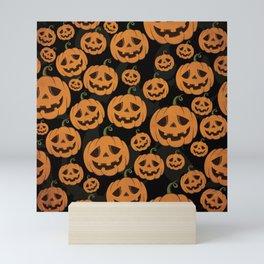 Jack O Lantern Halloween Pattern on Black Mini Art Print