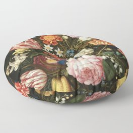 Vintage Floral Art Floor Pillow