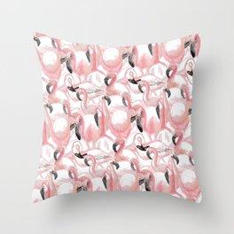 All the Flamingos Throw Pillow