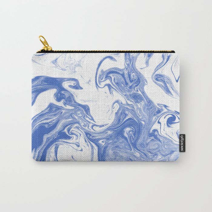 Marble Suminagashi indigo blue 2 watercolor pattern art pisces water wave ocean minimal design Carry-All Pouch