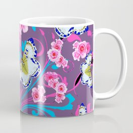 PINK ROSES & BUTTERFLIES  BLUE SCROLLS ART Coffee Mug