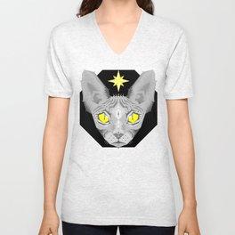 Sphynx Cat Black Pattern Unisex V-Neck