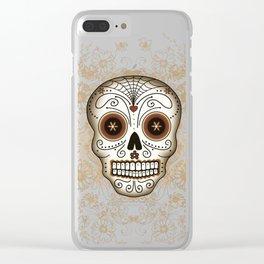 Vintage Sugar Skull Clear iPhone Case