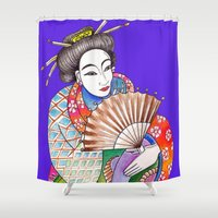geisha Shower Curtains featuring Geisha by LuxMundi