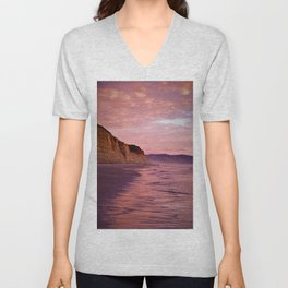 Sunset Walk along Torrey Beach by Reay of Light Photography Unisex V-Neck