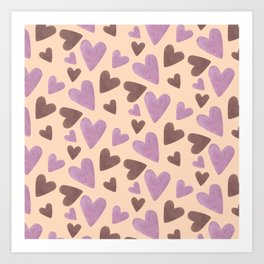 Watercolor Pink and Chocolate Hearts Art Print