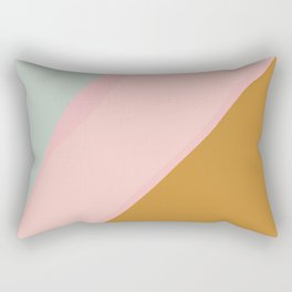 Abstract Painting in Muted Colors of Sage, Blush, and Gold Rectangular Pillow