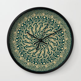 Mandala Project 255 | Gold on Forest Green Wall Clock