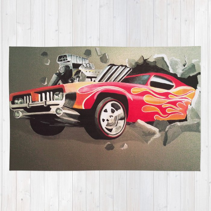 Hot Wheels Car Crashing Through The Wall Rug By Melissajbarrett