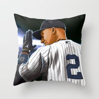 yankees Throw Pillows featuring Jeter by Ryan Ketley