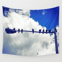 pigeon Wall Tapestries featuring Pigeon Jury by Jason Simms