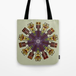 robot owls and a heptagram Tote Bag
