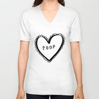 poop V-neck T-shirts featuring POOP by ursulantonia