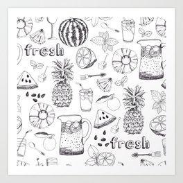 White And Black Fruit Pattern Art Print