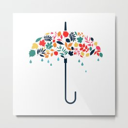 We Love Autumn Umbrella Leaves Metal Print