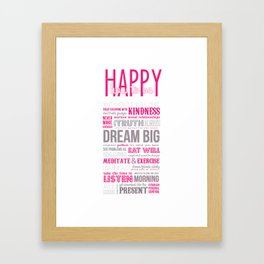 HOW TO BE HAPPY Framed Art Print