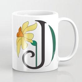 Ruby's Flower Initials - J Coffee Mug