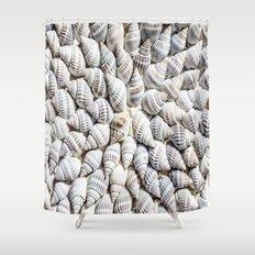 White Seashells Pattern Shower Curtain