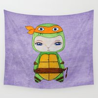 tmnt Wall Tapestries featuring A Boy - Michelangelo TMNT by Christophe Chiozzi